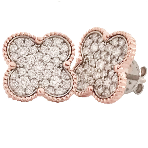 Four leaf clover diamond earrings - EMPEROR JEWELRY CO L.L.C