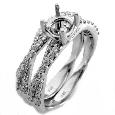 Crisscross pave' diamond bridal set rings(engagement and matching wedding ring) - EMPEROR JEWELRY CO L.L.C