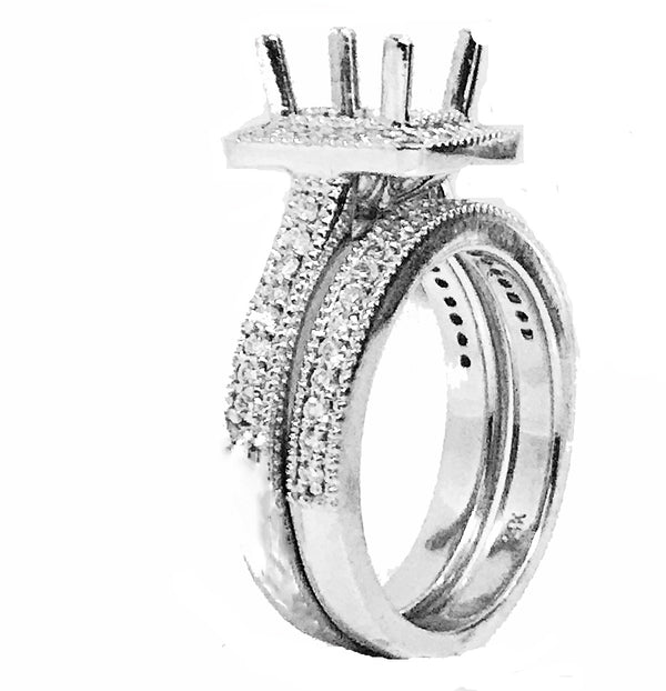 Engagement and wedding band  Pave' diamond  bridal set - EMPEROR JEWELRY CO L.L.C
