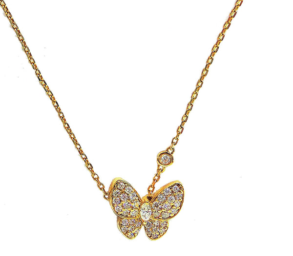 Butterfly round and marquis diamond necklace