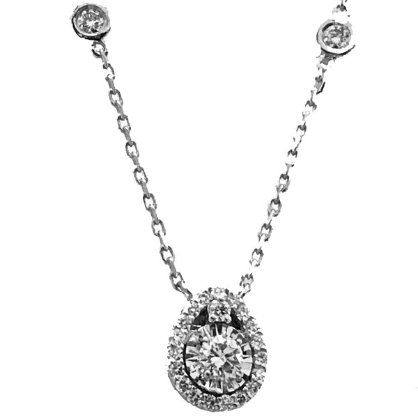 Pear shape illusion  diamond necklace with dbty chain - EMPEROR JEWELRY CO L.L.C