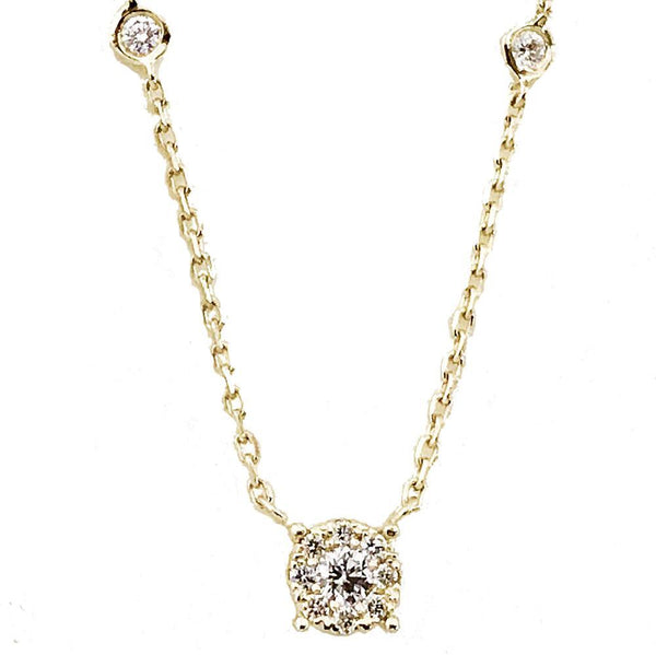 Invisible setting necklace with diamond by the yard chain - EMPEROR JEWELRY CO L.L.C