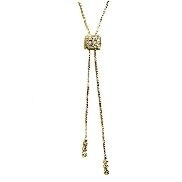 Bolo pave and burnish set diamond necklace