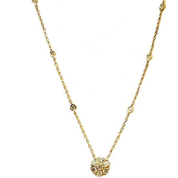 Cluster  diamond necklace with diamond by the yard chain - EMPEROR JEWELRY CO L.L.C
