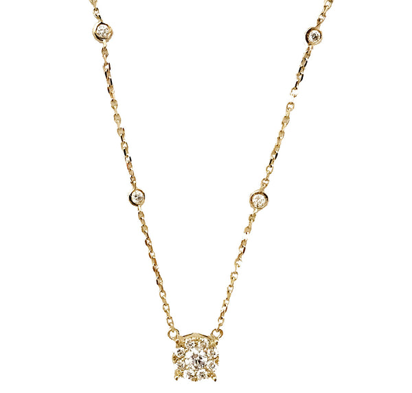 Cluster invisible setting diamond  necklace with diamond by the yard chain - EMPEROR JEWELRY CO L.L.C