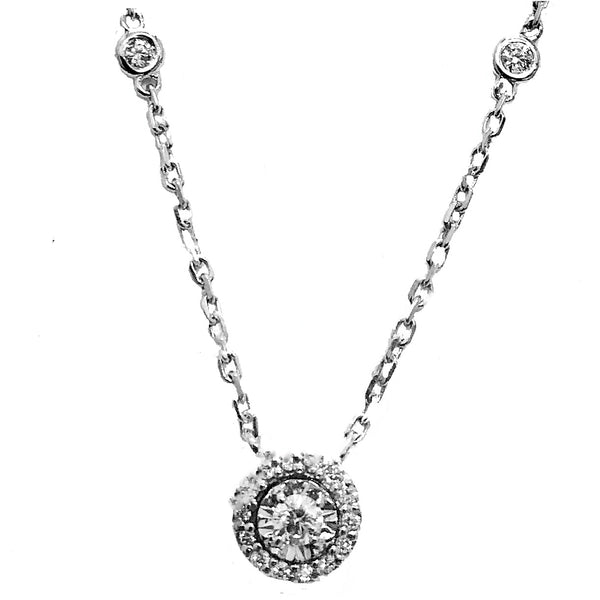 Illusion setting diamond necklace with diamond by the yard chain - EMPEROR JEWELRY CO L.L.C