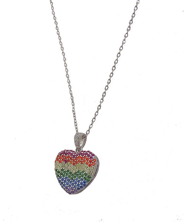 Rainbow watercolors silver heart pendant necklace