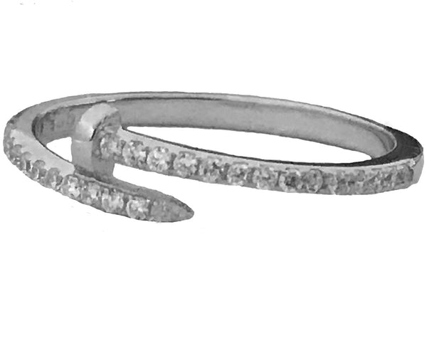 Twisted nail pave silver/c z ring