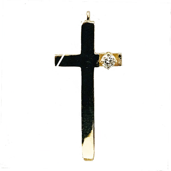 Designer yellow gold diamond  cross pendant - EMPEROR JEWELRY CO L.L.C