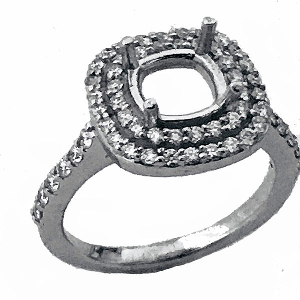 Double halo pave' diamond semi mount - EMPEROR JEWELRY CO L.L.C