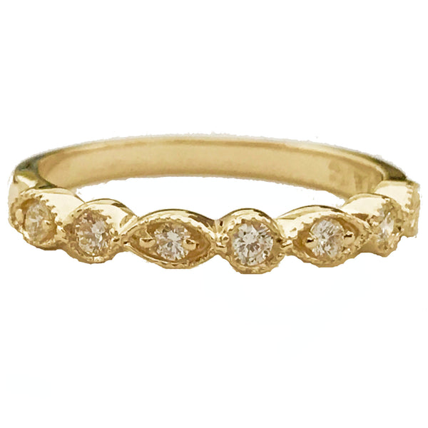 Milgrain marquise diamond anniversary, wedding ring - EMPEROR JEWELRY CO L.L.C