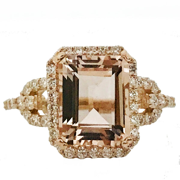 Emerald cut morganite and Daimond  ring - EMPEROR JEWELRY CO L.L.C