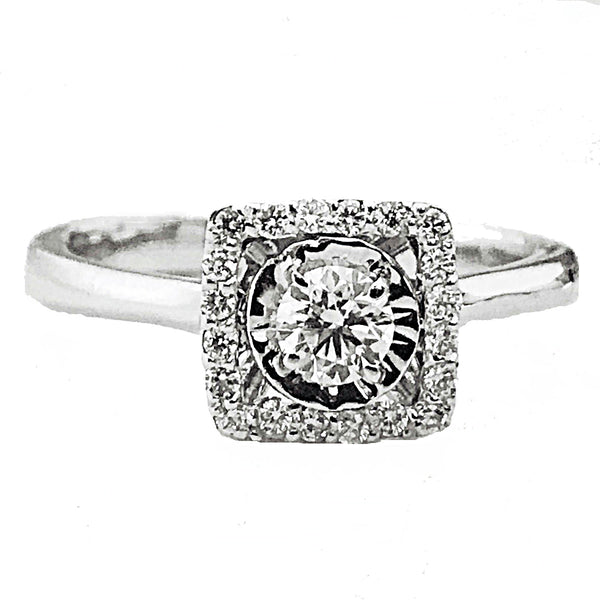 Illusion setting diamond engagement ring - EMPEROR JEWELRY CO L.L.C