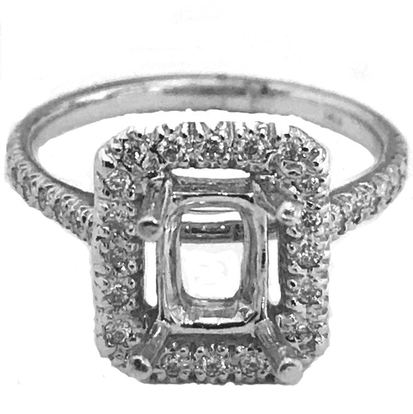 Emerald cut center halo diamond semi mount - EMPEROR JEWELRY CO L.L.C