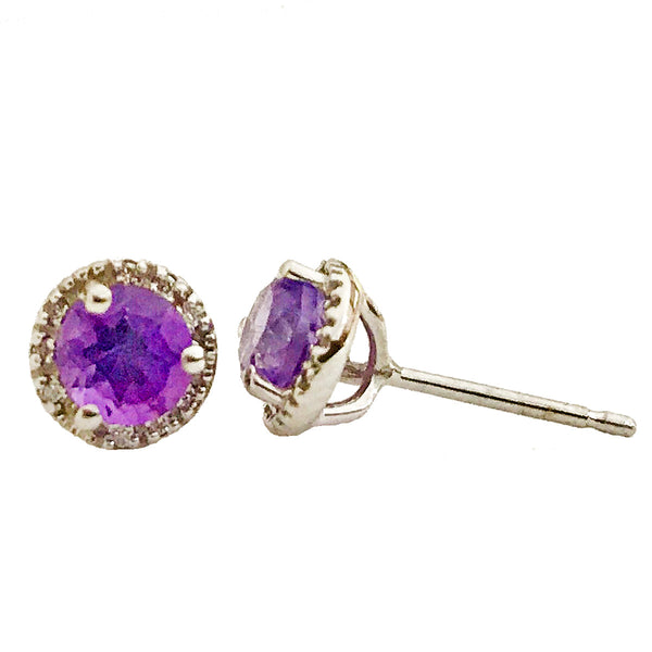 Halo diamond and center  Amethyst birthstone earrings (February birthstone) - EMPEROR JEWELRY CO L.L.C