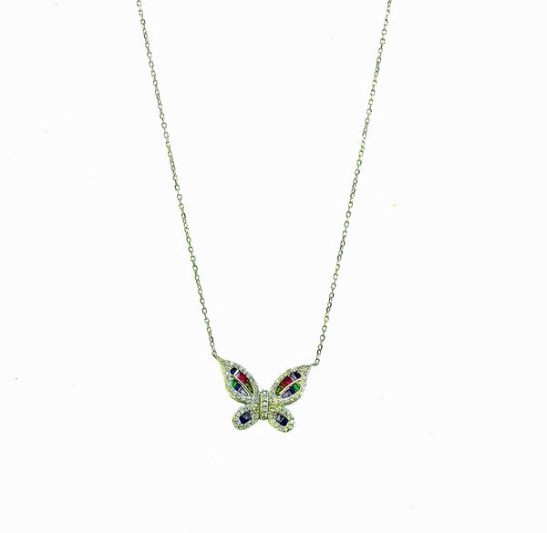Silver and Cubic Zirconia  butterfly necklace