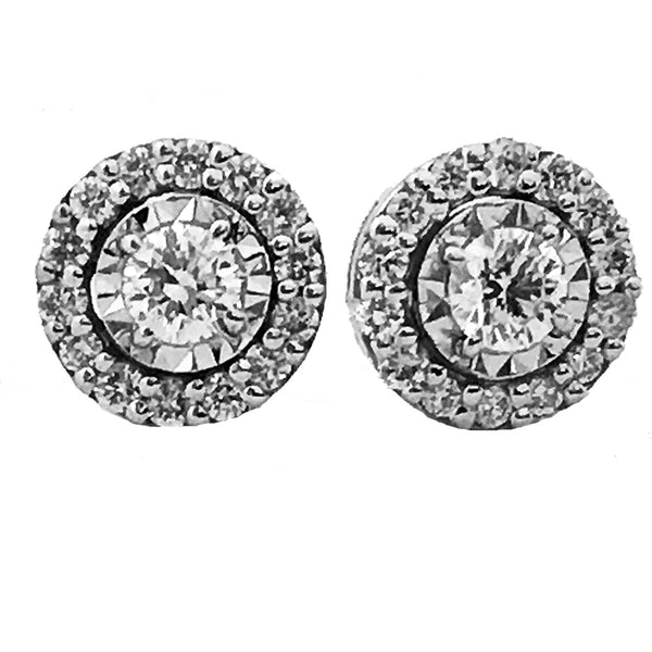 Illusion halo diamond earrings-10 - EMPEROR JEWELRY CO L.L.C