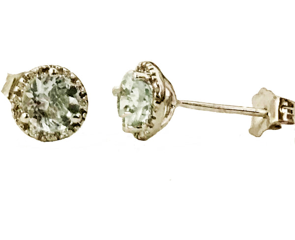 Aquamarine halo pave set diamond earrings