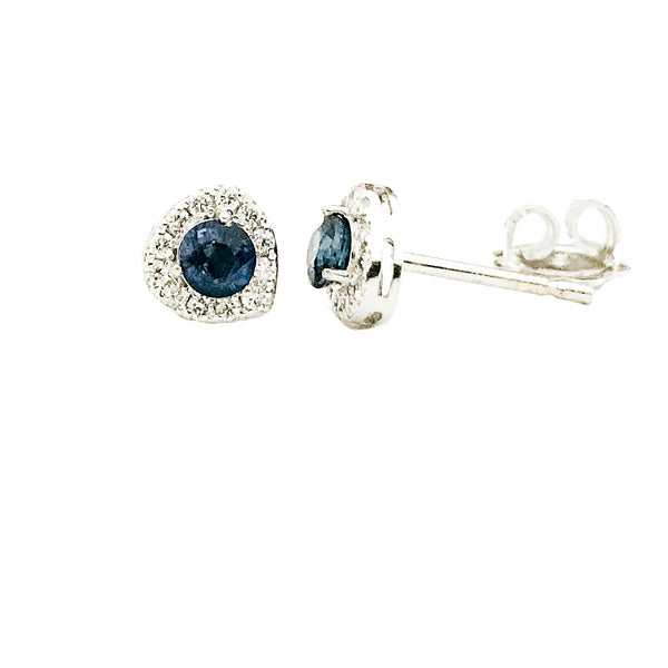 Halo sapphire diamond  earrings - EMPEROR JEWELRY CO L.L.C