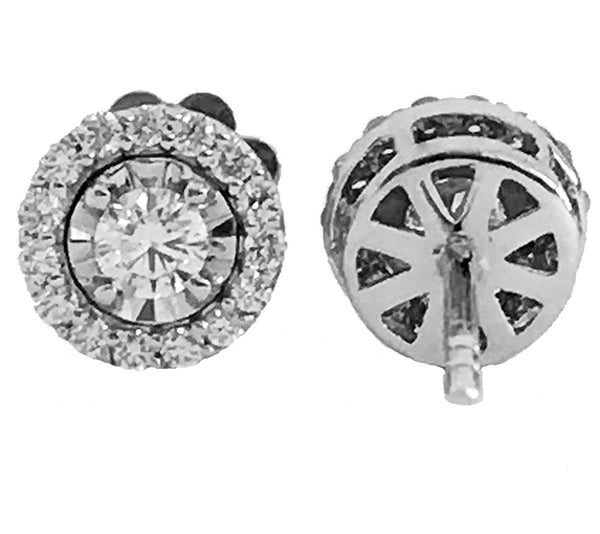 Illusion setting halo pave' diamond earrings-07 - EMPEROR JEWELRY CO L.L.C