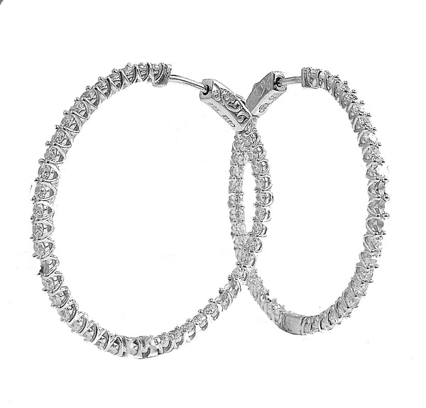 Silver and cubic zirconia hoop earrings