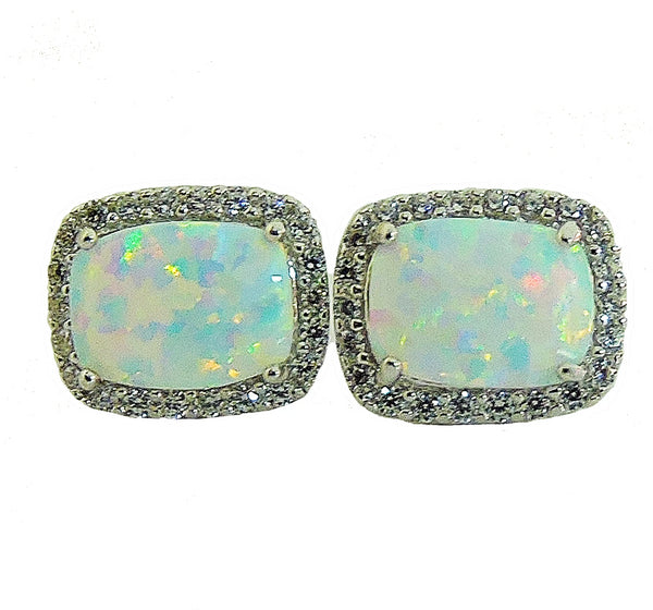 Multi color opal and cubic zirconia silver earrings