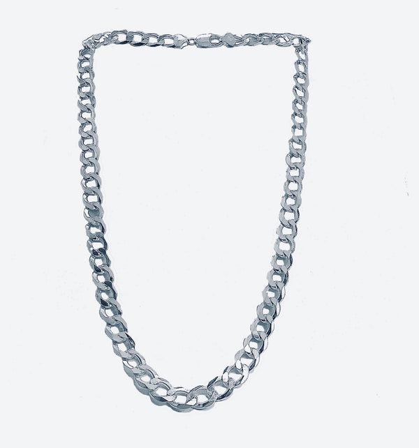 Italian silver 30'' and 10.5 mm figaro pave chain