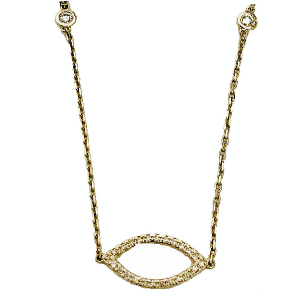 Pave' almond shape diamond by the yard necklace - EMPEROR JEWELRY CO L.L.C