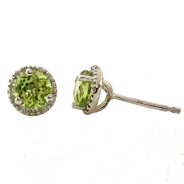 Halo diamond and peridot center stone earrings( August birthstone) - EMPEROR JEWELRY CO L.L.C