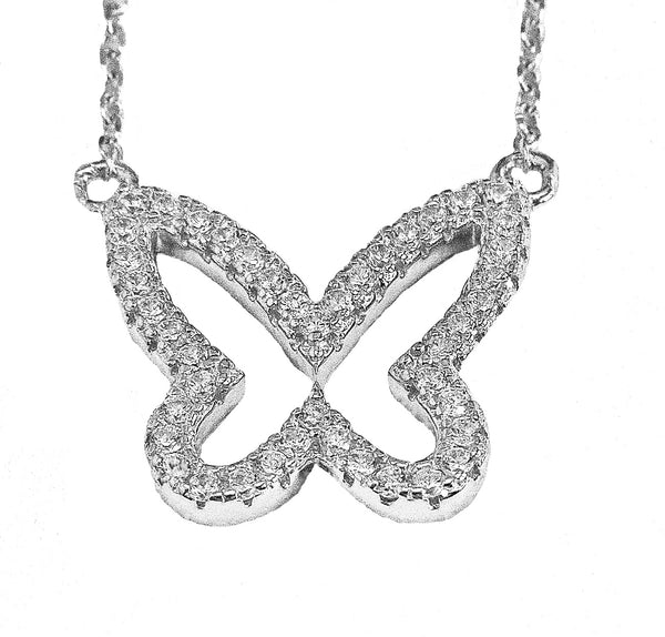 Silver and Cubic zirconia  butterfly necklace pendant