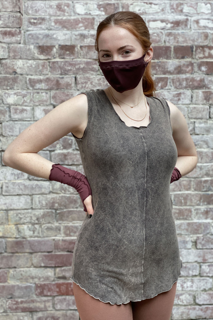 mineral shell tank with our lush opera sleeves and wine hush mask
