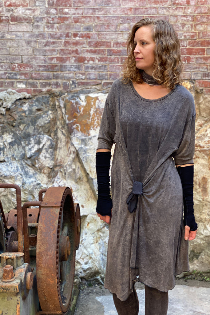 tide dress in mineral + black opera sleeves