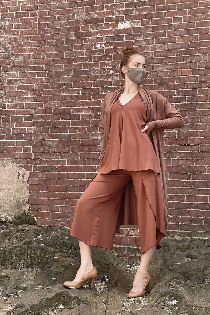 riding coat in cedar + sand whisper mask