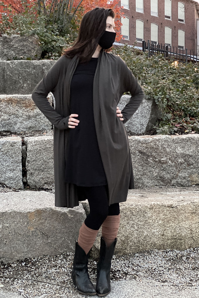 riding coat in ore + cedar stockings
