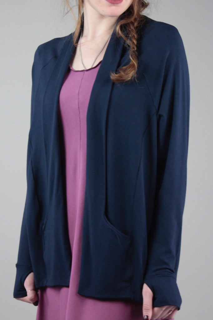 suger® navy GEM jacket over orchid FLARE dress