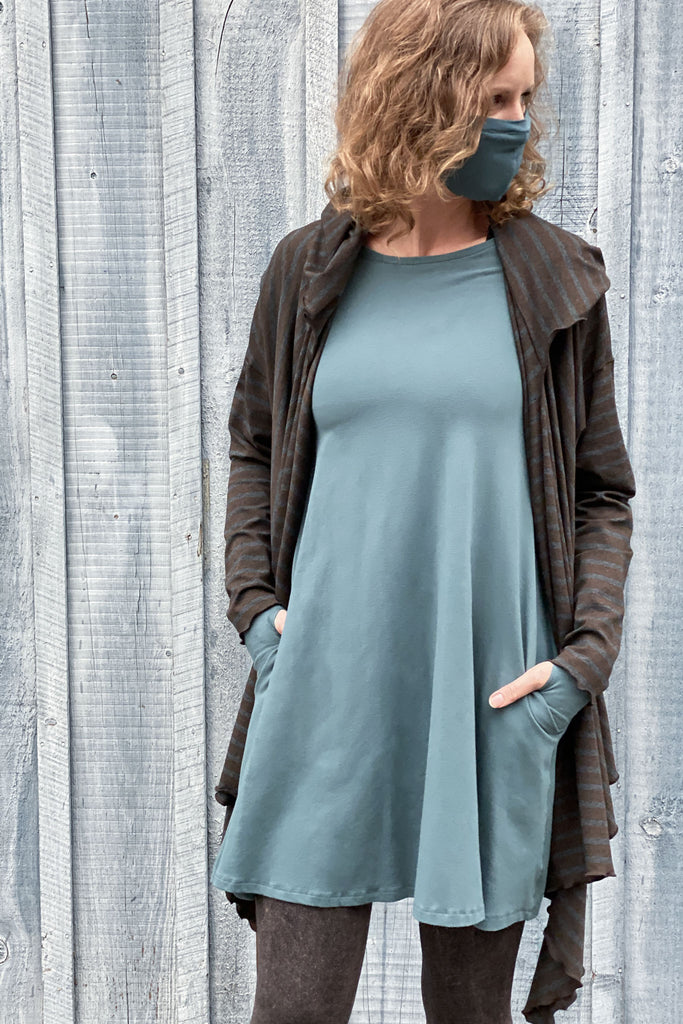 ocean stella dress + woodland cardi + ocean hush face mask