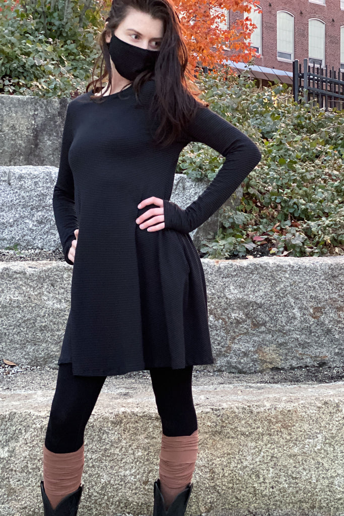 subtle black bamboo stella dress