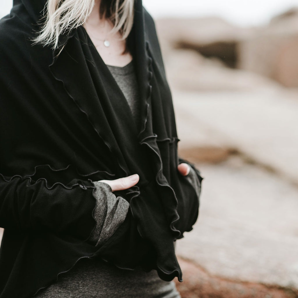 black bamboo cardi jacket styled upsisde down with deep cozy pockets