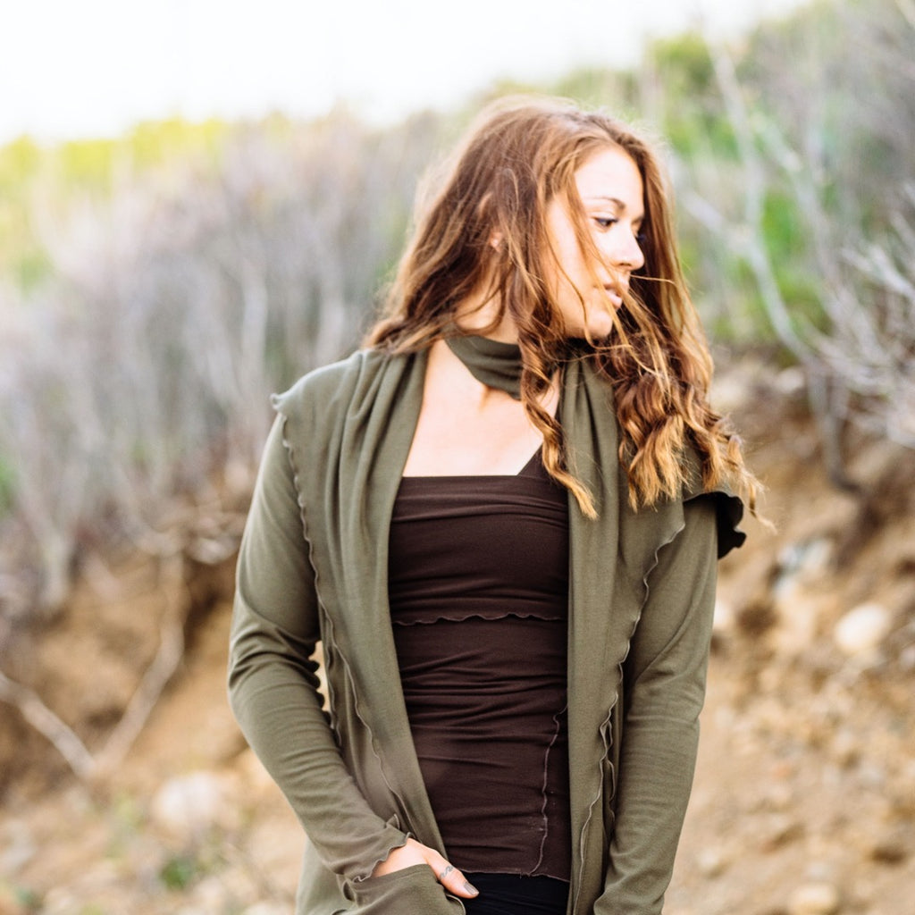 olive cardi jacket- be gentle with yourself + the earth