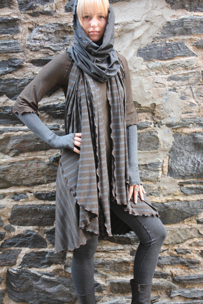 woodland stripe (espresso + charcoal) wrap by angelrox with espresso ballet tunic, charcoal hourglass, playsuit + opera sleeves
