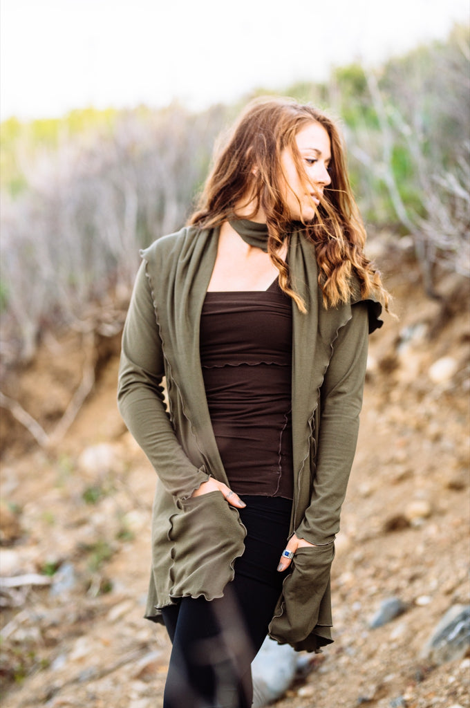olive cardi jacket over our peat hourglass worn as top