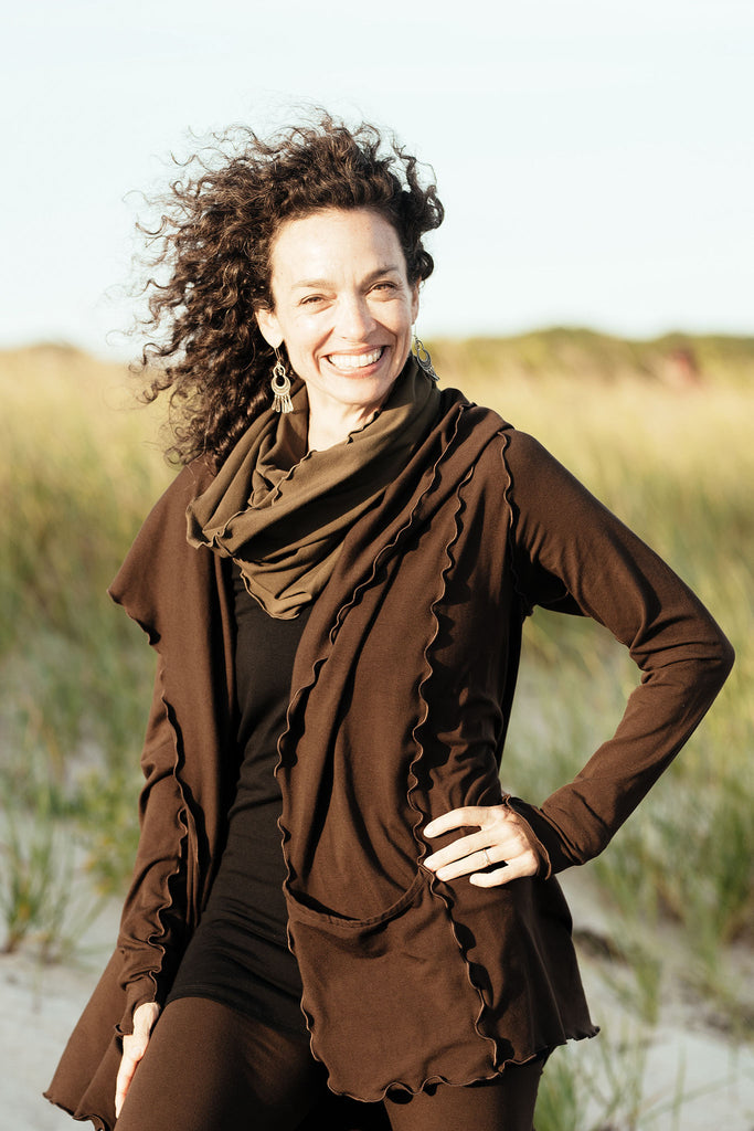 olive bamboo hourglass cowl + cozy cardi in peat