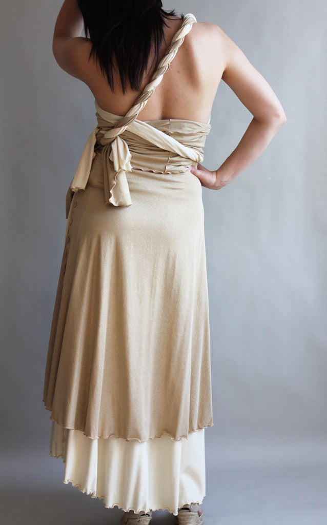 vanilla formal wrap layered under champagne