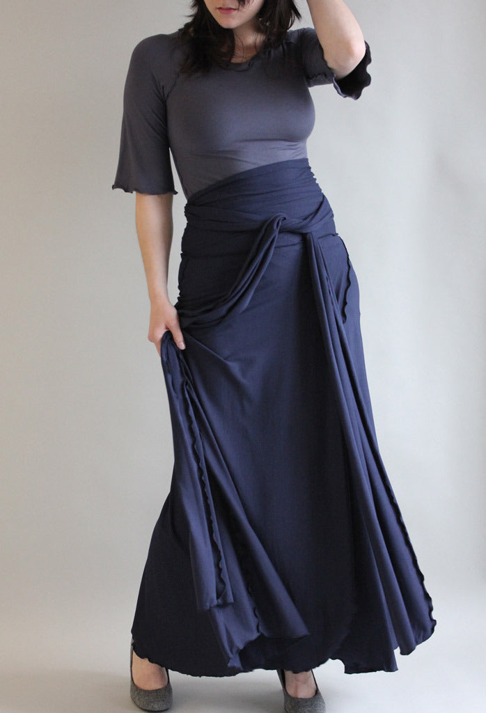 formal wrap as skirt with slate ballet tunic