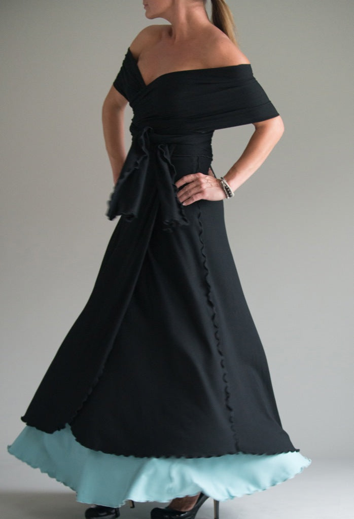 black formal wrap over sky lady flirt