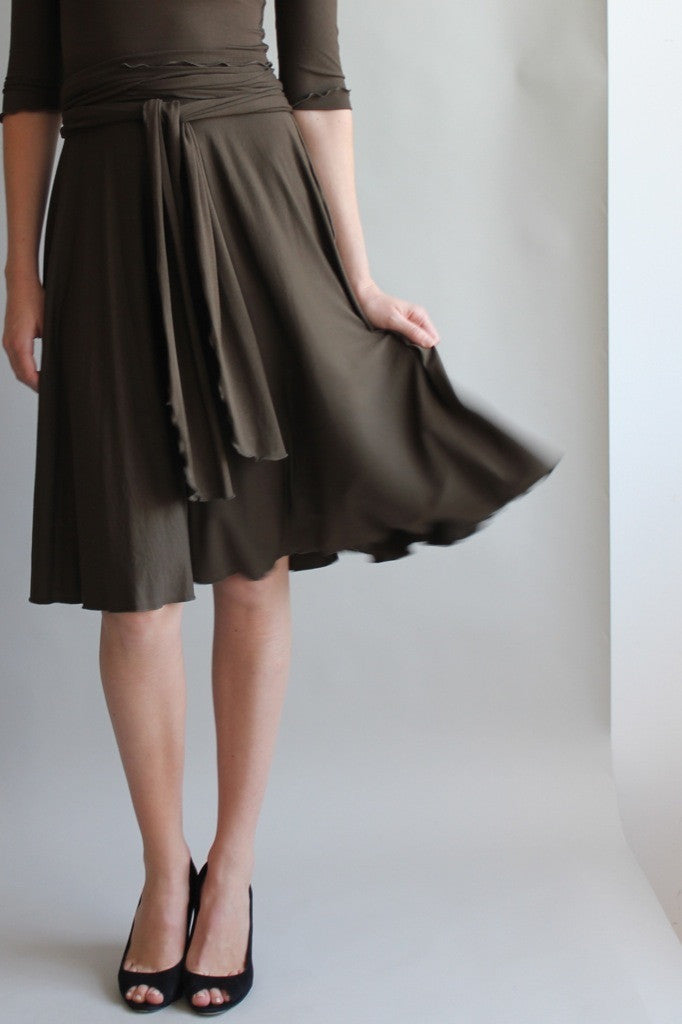 full circle audrey dress by angelrox in olive with obi sash as belt