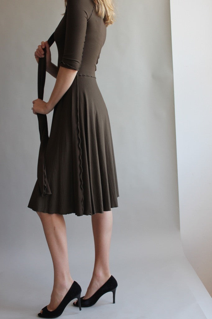 audrey dress by angelrox in olive - coordinating obi sash as scarf
