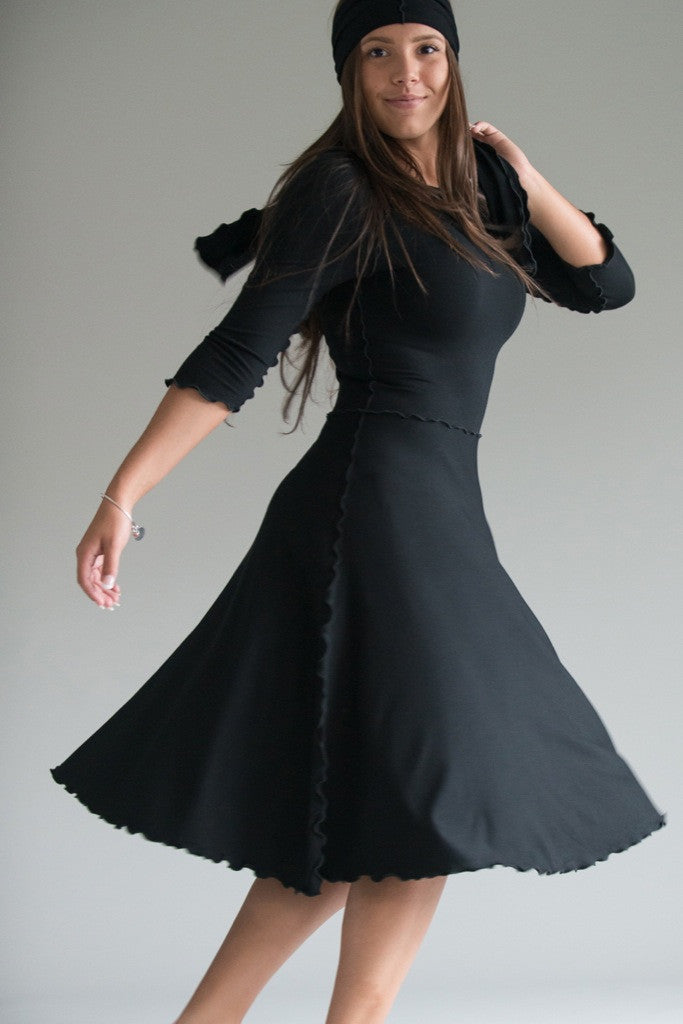 the black audrey dress is perfect for twirling.