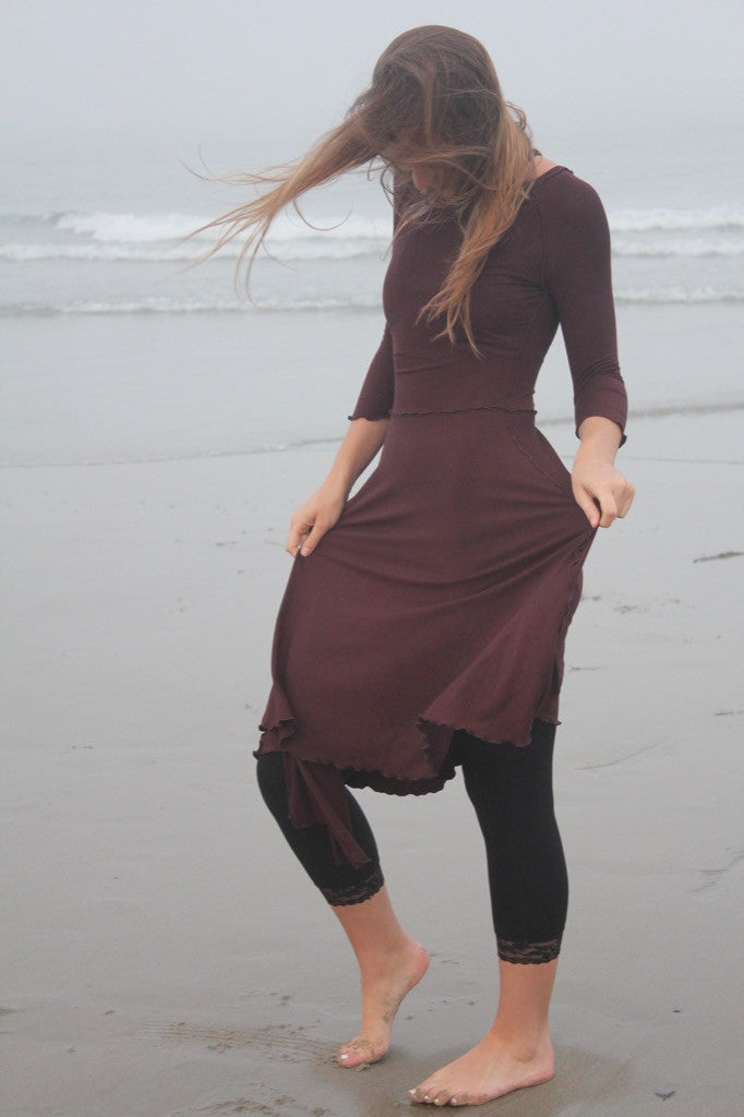 the audrey dress in mahogany over black lace base