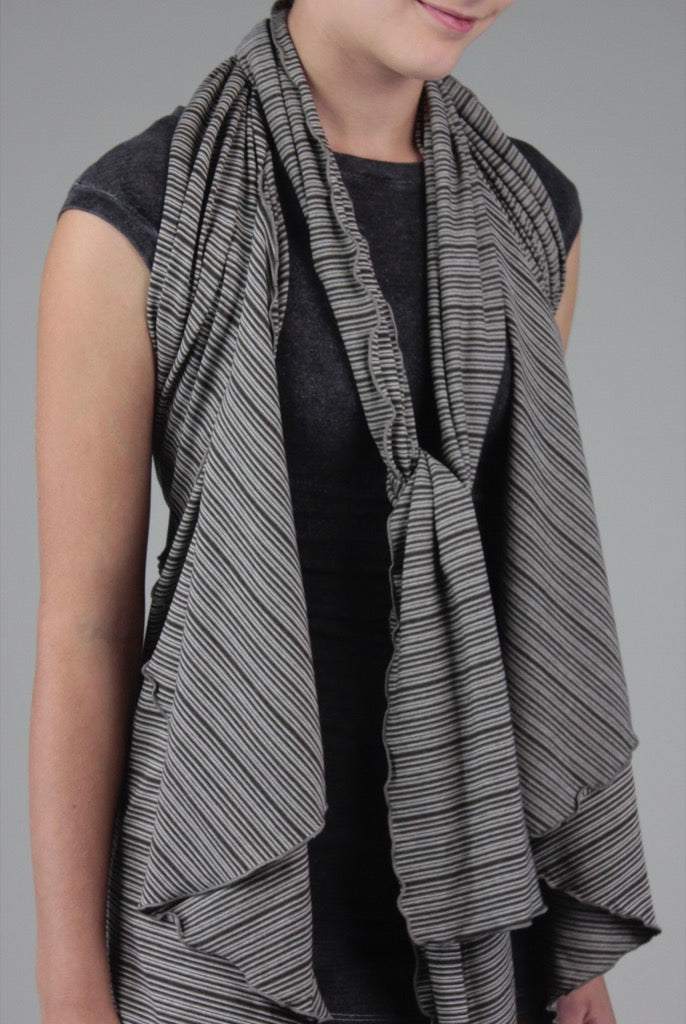 angelrox® earth girly wrap styled as a vest + scarf